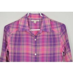 Banana Republic Petite XS Plaid Button Up Shirt